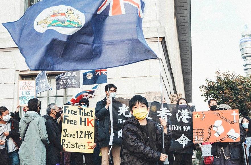 London Chinese embassy protest fuck ccp free Hong Kong