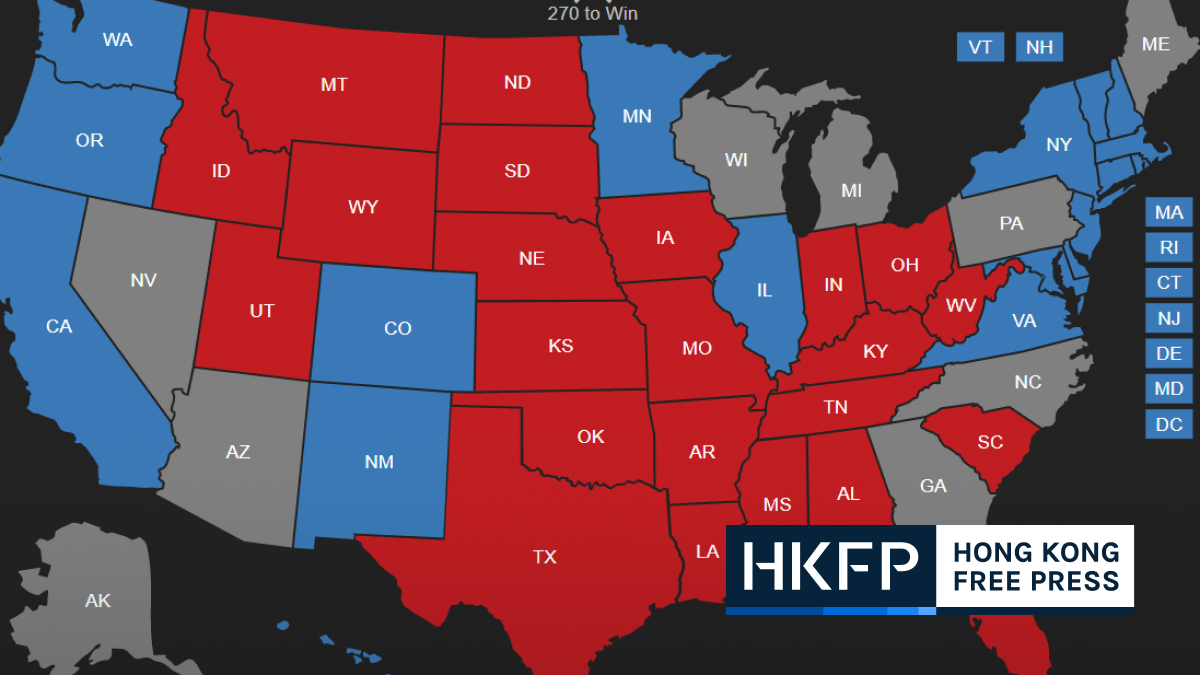 US 2020 election live interactive results map: Race still on knife edge as  votes counted in key states | Hong Kong Free Press HKFP