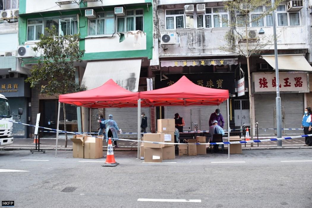Covid mobile testing stations on Canton Road, Yau Ma Tei