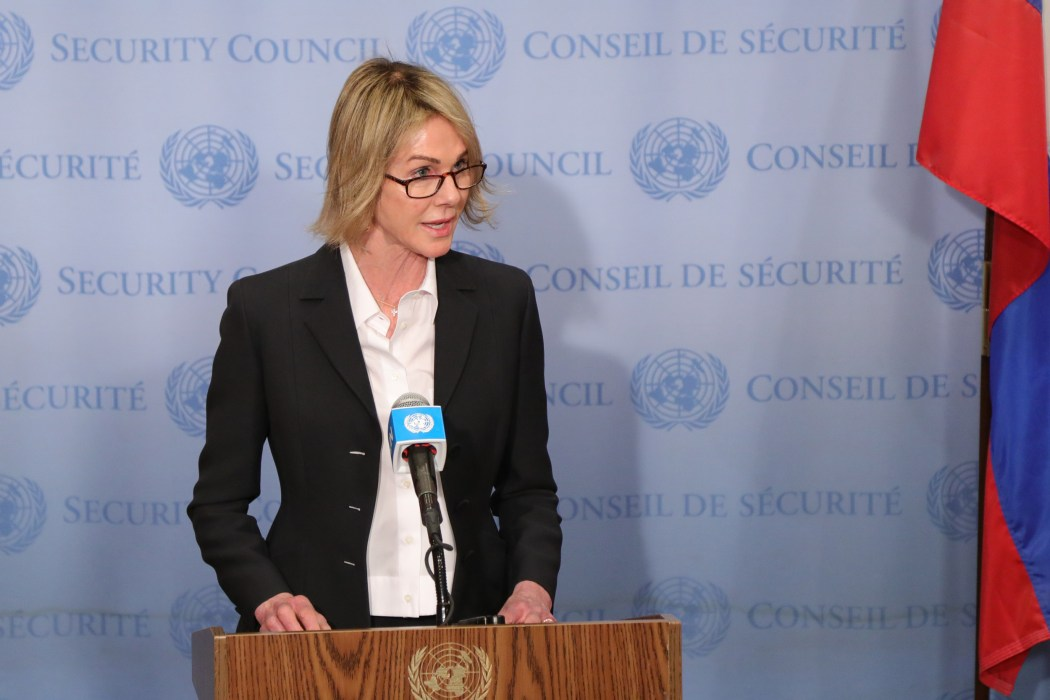 Ambassador Kelly Craft delivers remarks at a Security Council Stakeout on Syria