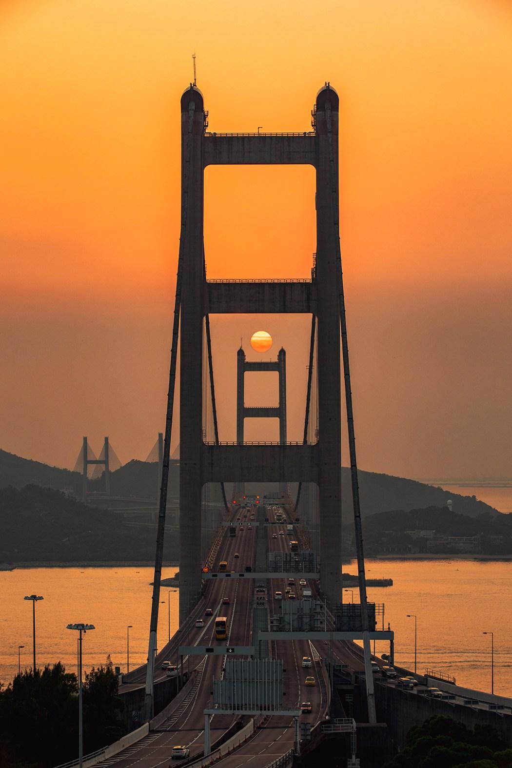 Hong Kong bridge dusk