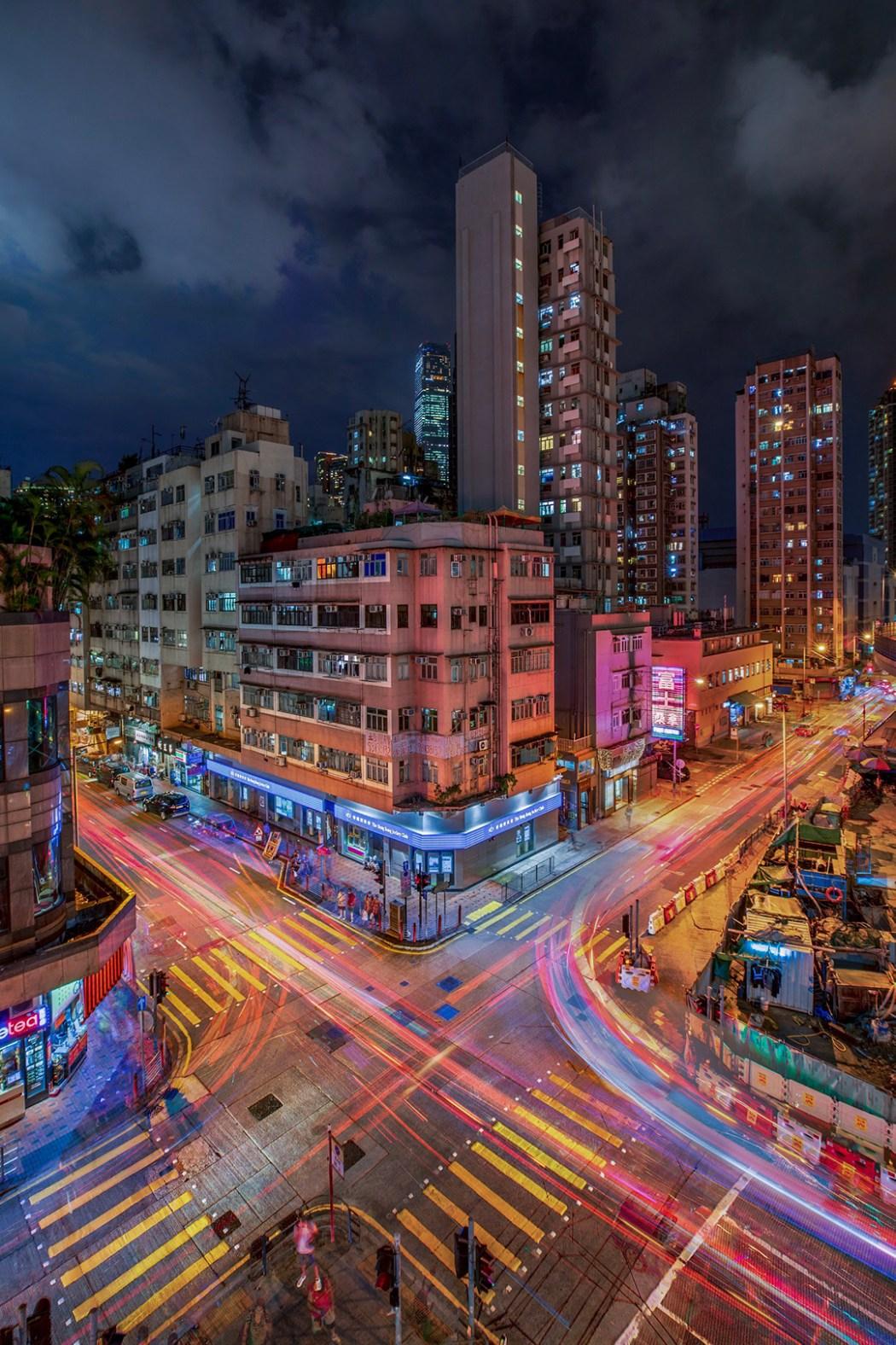 Hong Kong night street neon
