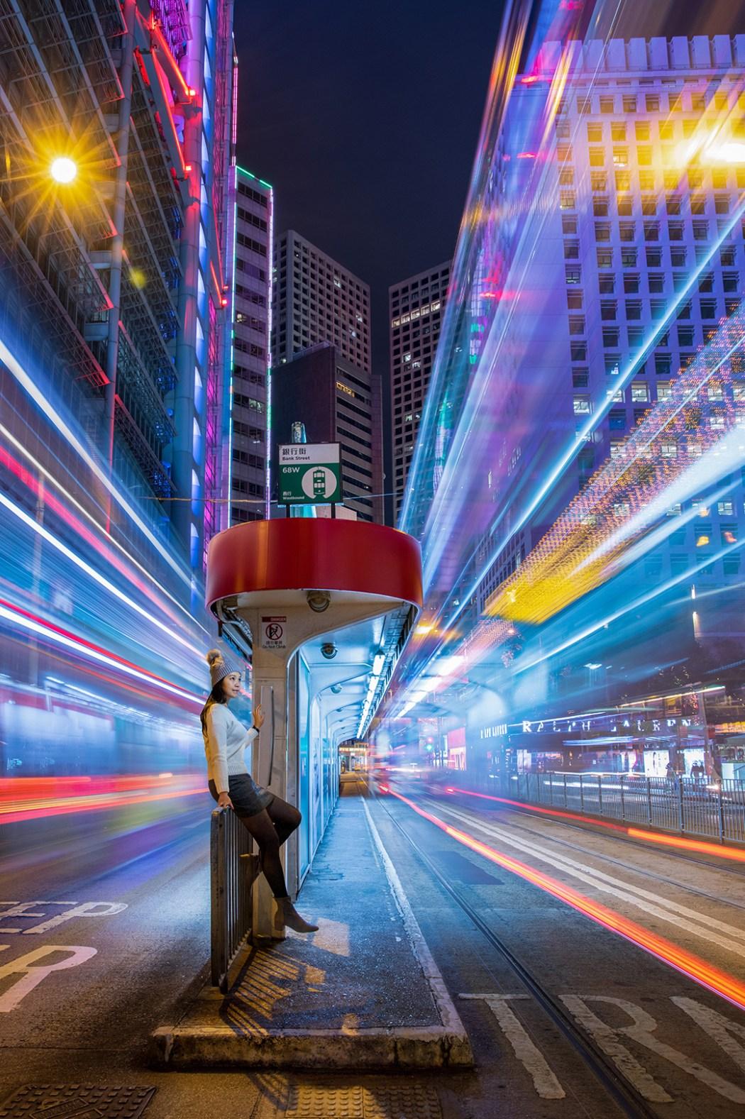 Hong Kong night neon street