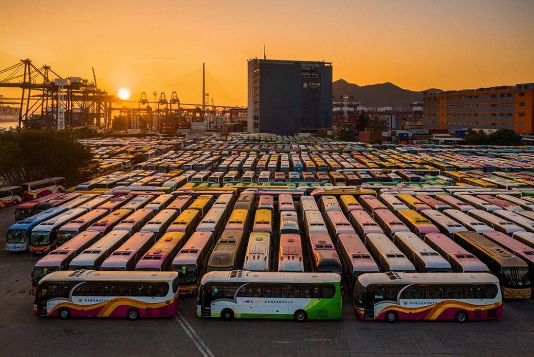 Hong Kong bus depot dusk