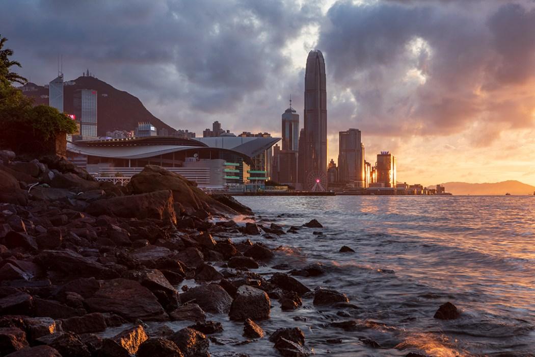 Hong Kong skyline sunset shore
