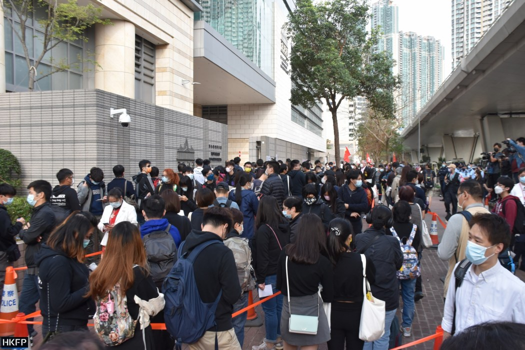 People queuing outside the West Kowloon Law Courts Building