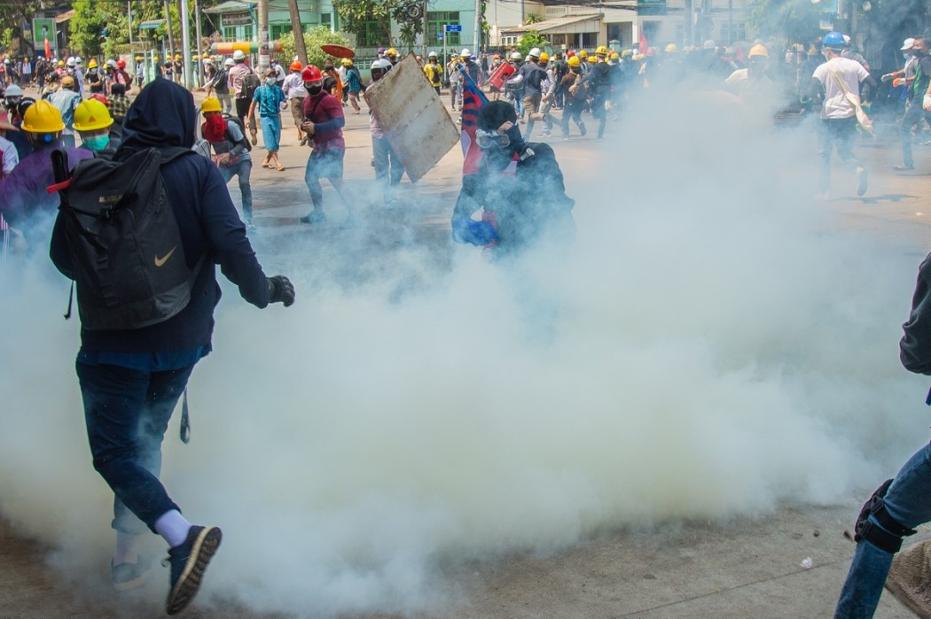 Myanmar coup protest tear gas