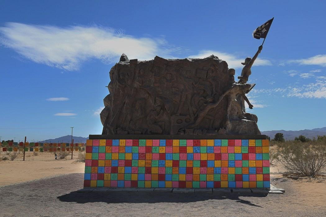Lion Rock Cafe Mural at Liberty Sculpture Park, California. Photo: Thirdblade Photography.