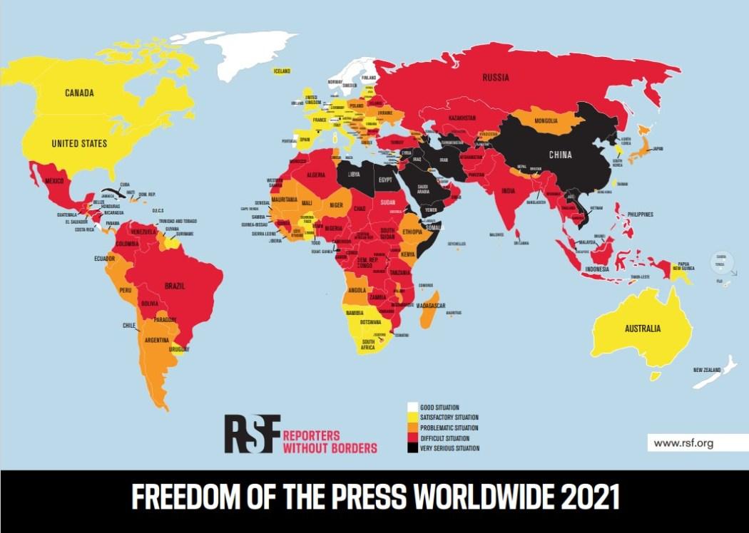 RSF 2021 press freedom index