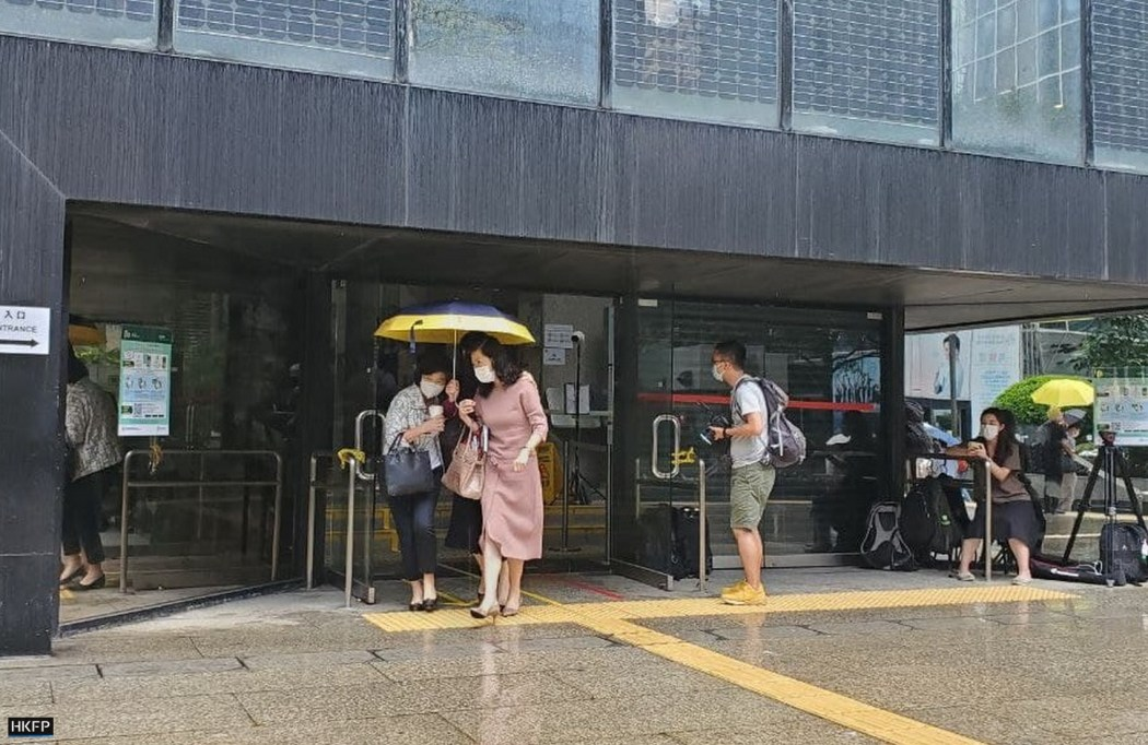 Media tycoon Jimmy Lai's wife was seen at the District Court on Monday