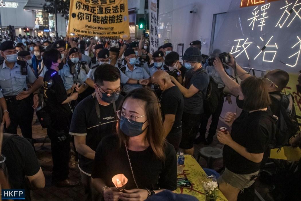 June 4 Tiananmen Square Massacre Victoria Park 2021 candle police warning led lights read - release all political prisoners