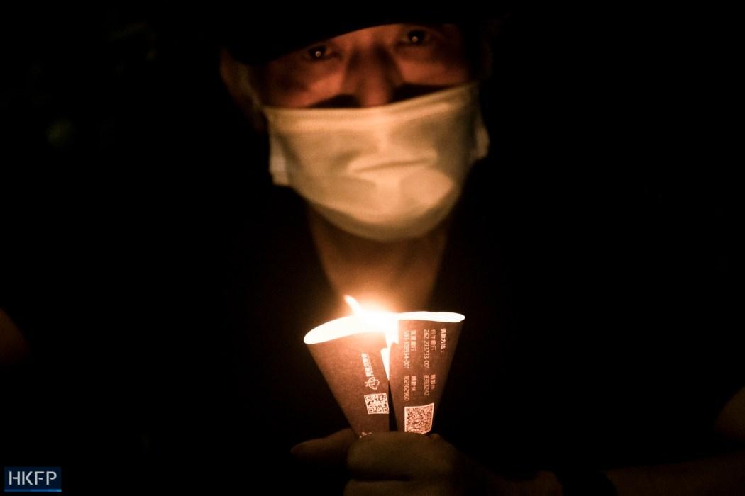 June 4 Tiananmen Square Massacre Victoria Park 2021 candle face