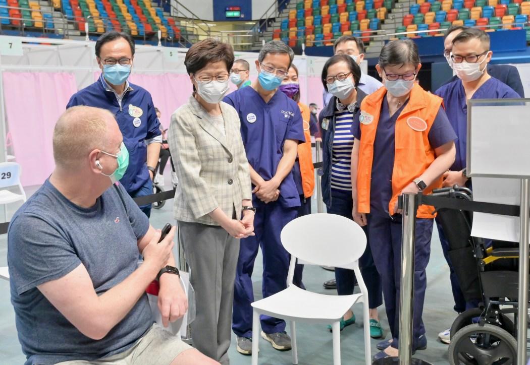 QE vaccination centre Lam visit
