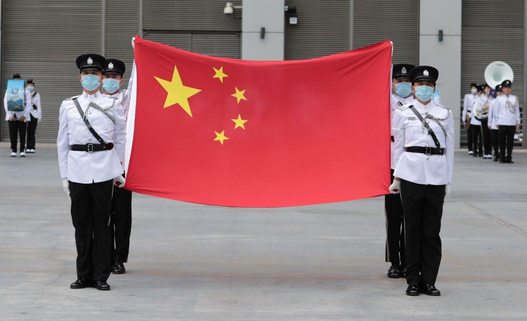 china flag hong kong officers