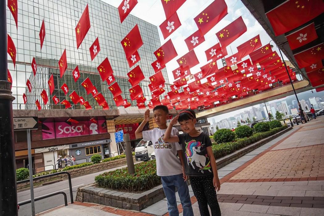July 1 handover China Hong Kong flag children