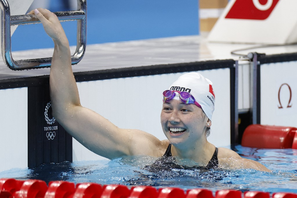 Hong Kong's Haughey Siobhan Bernadette reacts after coming in second in the final of the women's 200m freestyle swimming event during the Tokyo 2020 Olympic Games at the Tokyo Aquatics Centre in Tokyo on July 28, 2021