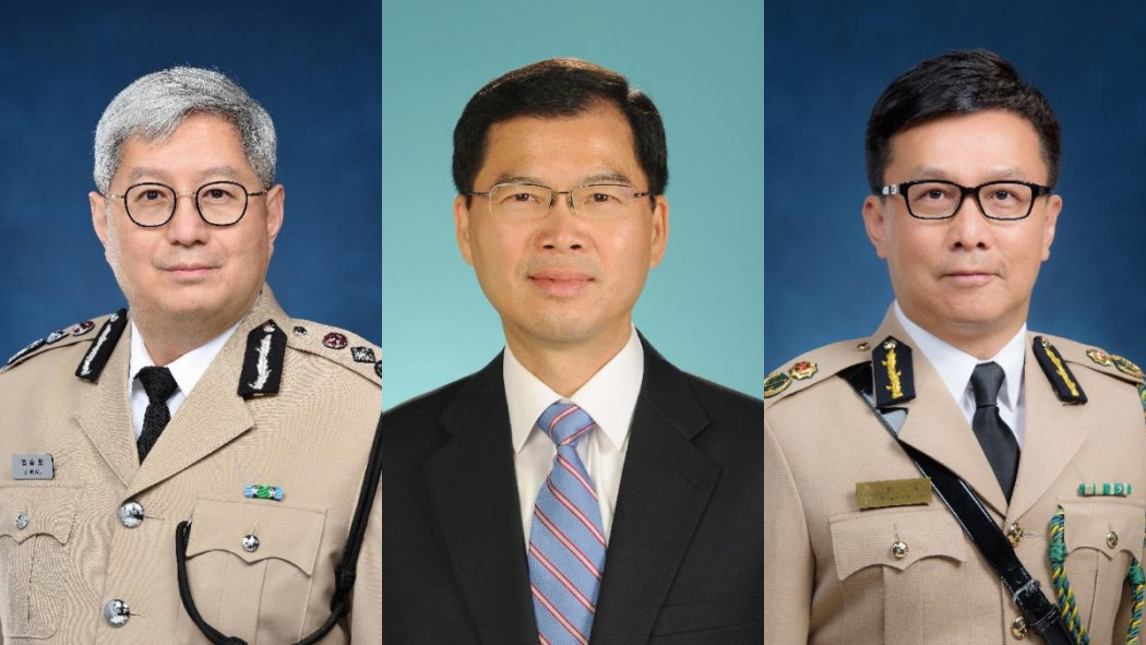 Director of Immigration Au Ka-wang, Under Secretary for Security Sonny Au , and Commissioner for Customs and Excise Hermes Tang