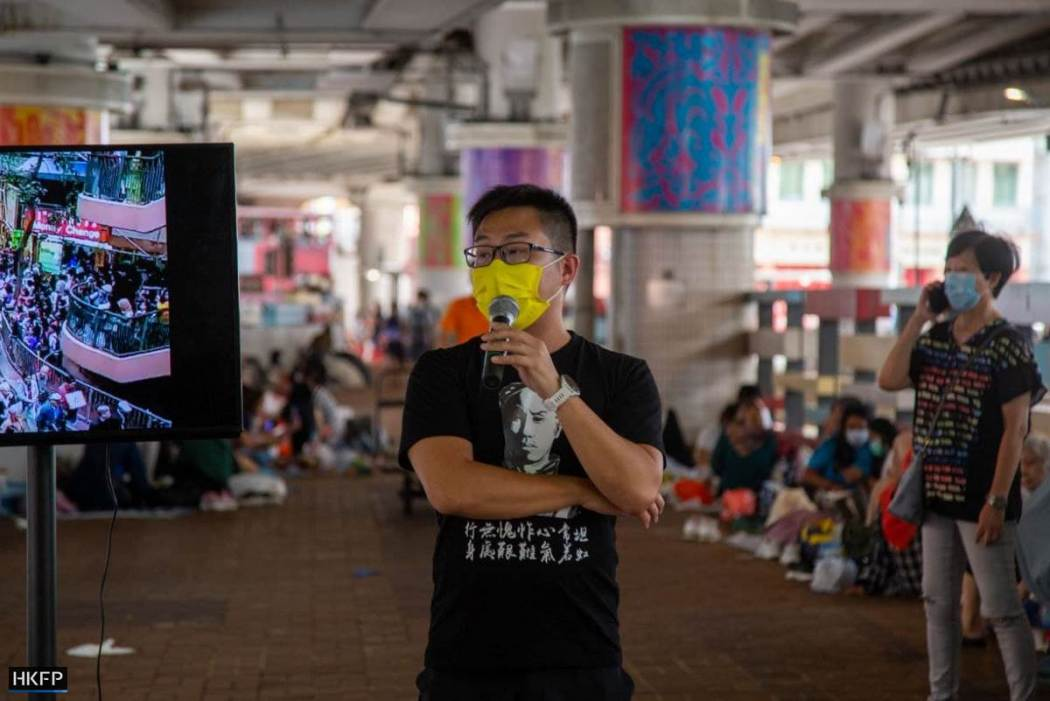 Raphael Wong at League of Social Democrats' street booth in Wan Chai on July 1 2021 LSD