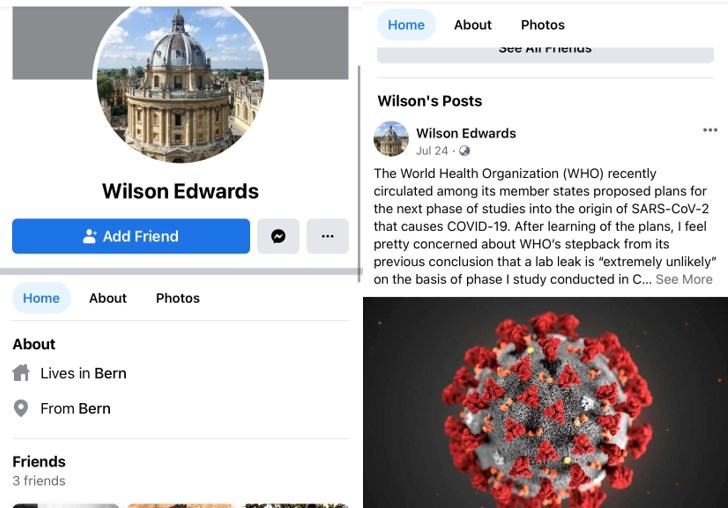 Screenshots of Wilson Edward's Facebook account profile showing 3 friends, a profile photo of a domed structure, a location in Bern, Switzerland, and an image of the novel coronavirus