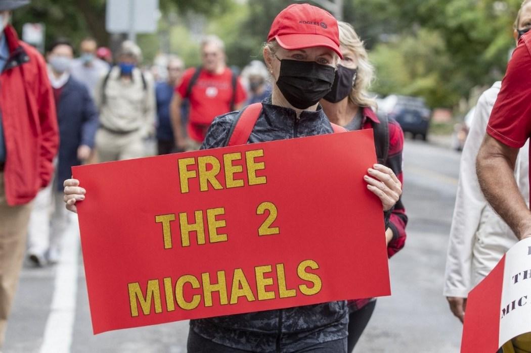 Protest Michael Kovrig Michael Spavor China