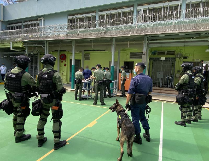 """A CSD image given to the press showed its Regional Response Unit deployed to quash """"illicit"""" collective action taken by inmates at the Tai Tam Gap Detention Centre. smart prison"""