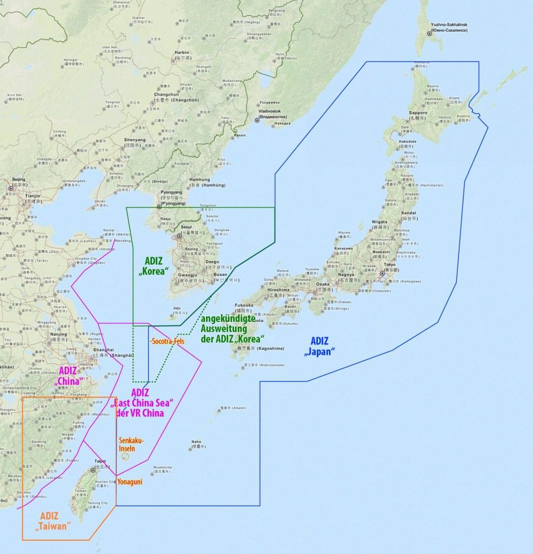 Taiwan's ADIZ air space