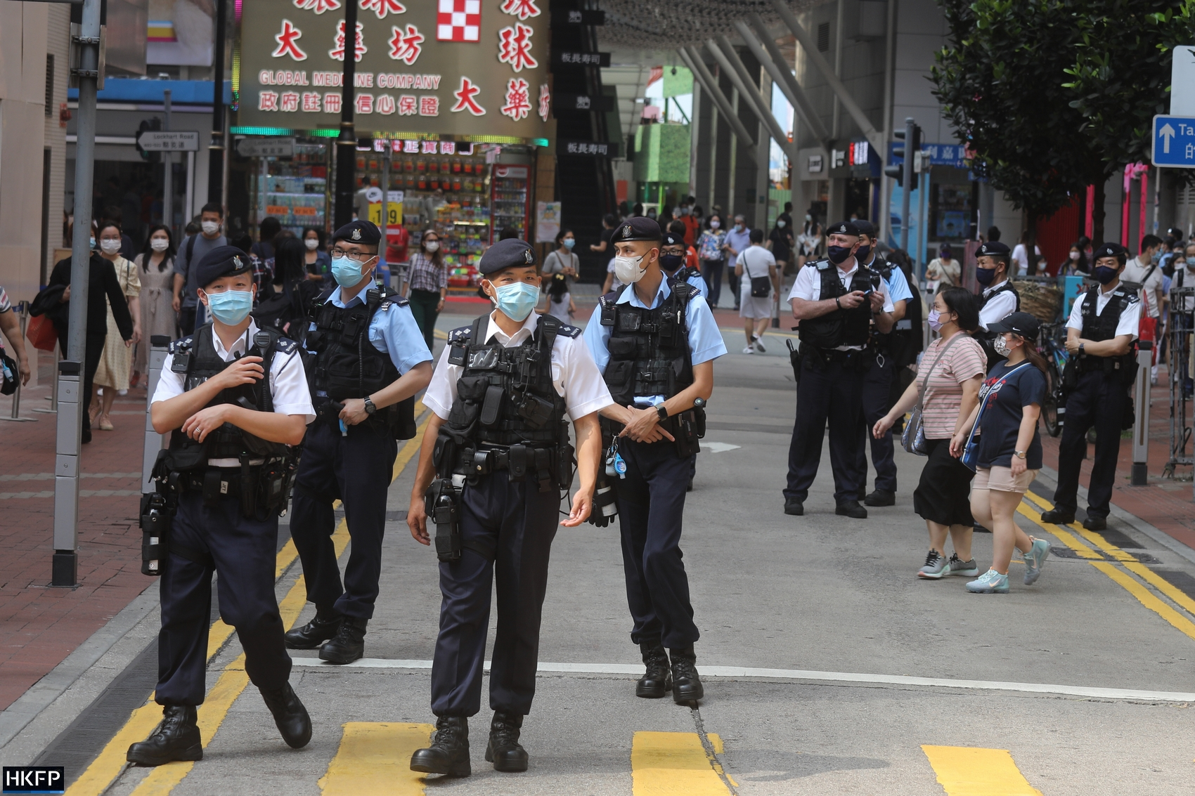 Chinese National Day October 1, 2021 Police Causeway Bay protective vest