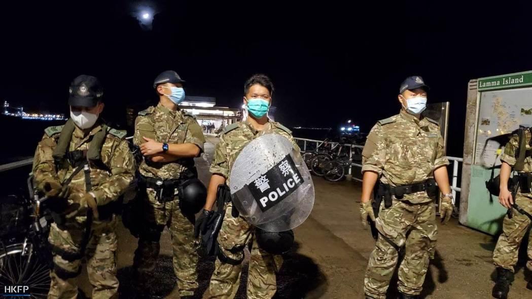riot police at lamma public pier